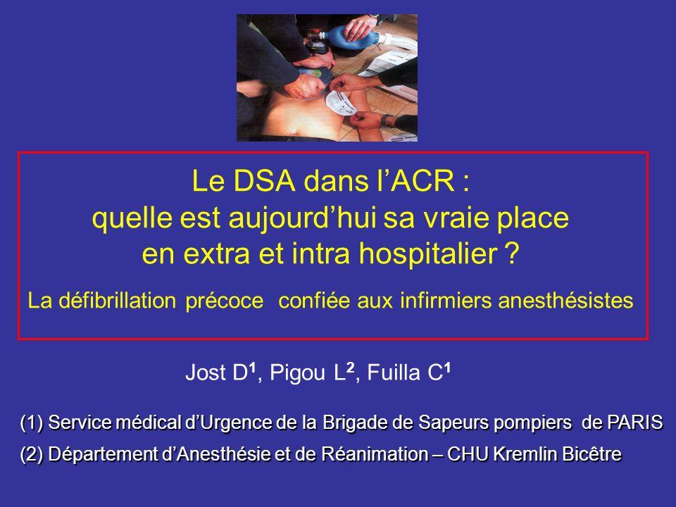 Le DSA dans lACR : quelle est aujourdhui sa vraie place en extra et intra hospitalier ? La défibrillation précoce confiée aux infirmiers anesthésistes