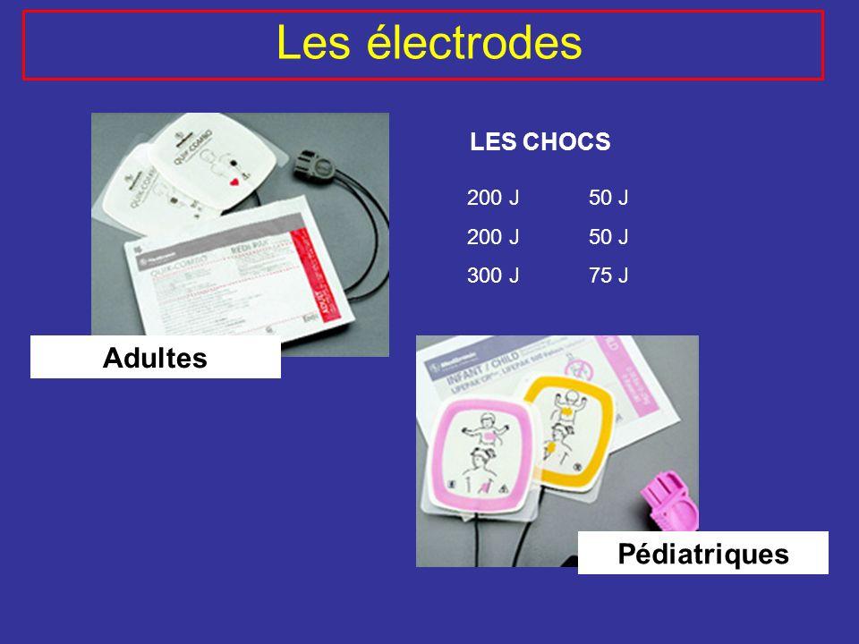 Adultes Pédiatriques 200 J 300 J 50 J 75 J Les électrodes LES CHOCS