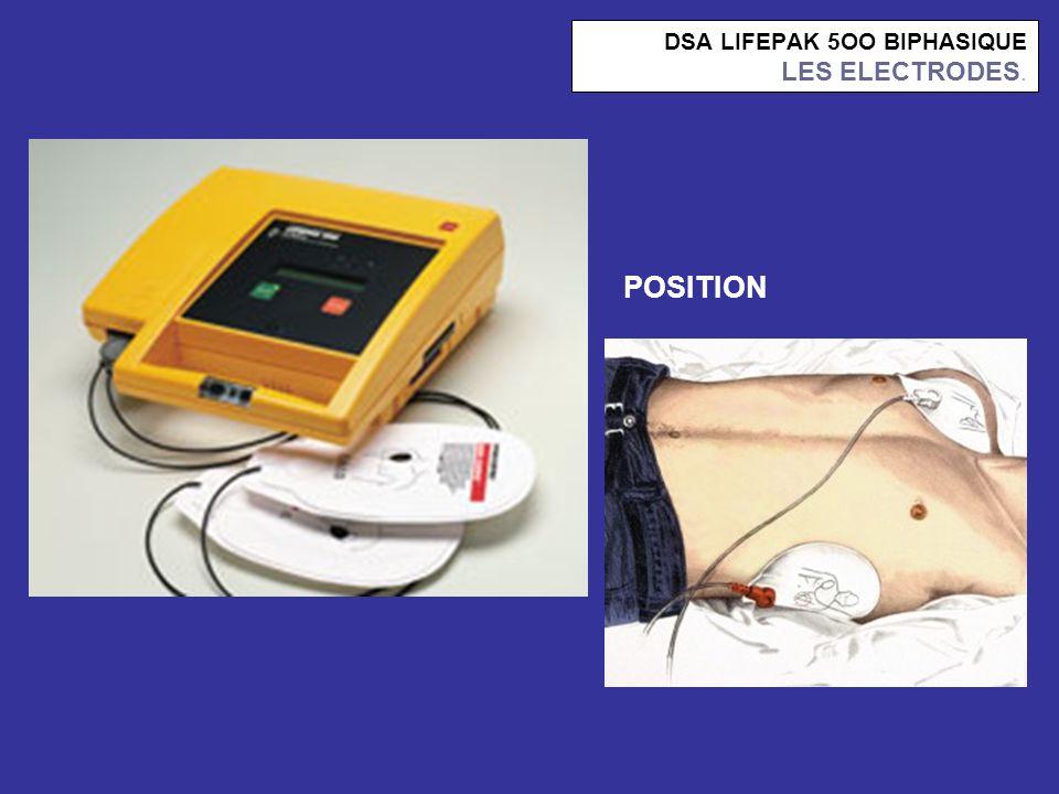 DSA LIFEPAK 5OO BIPHASIQUE LES ELECTRODES. POSITION