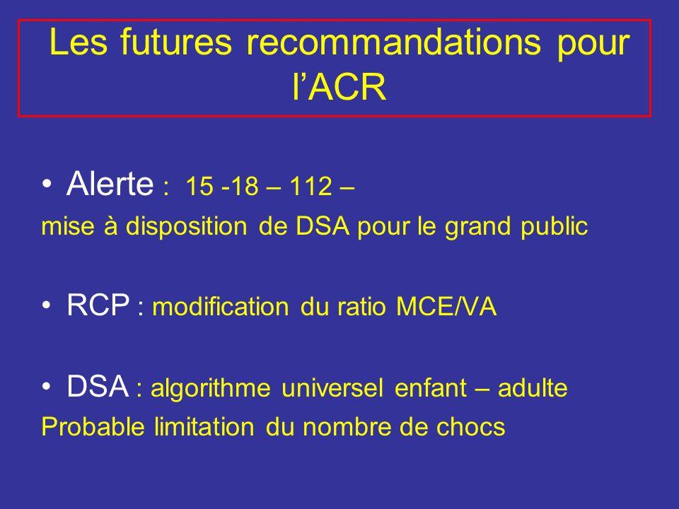 Alerte : 15 -18 – 112 – mise à disposition de DSA pour le grand public RCP : modification du ratio MCE/VA DSA : algorithme universel enfant – adulte P