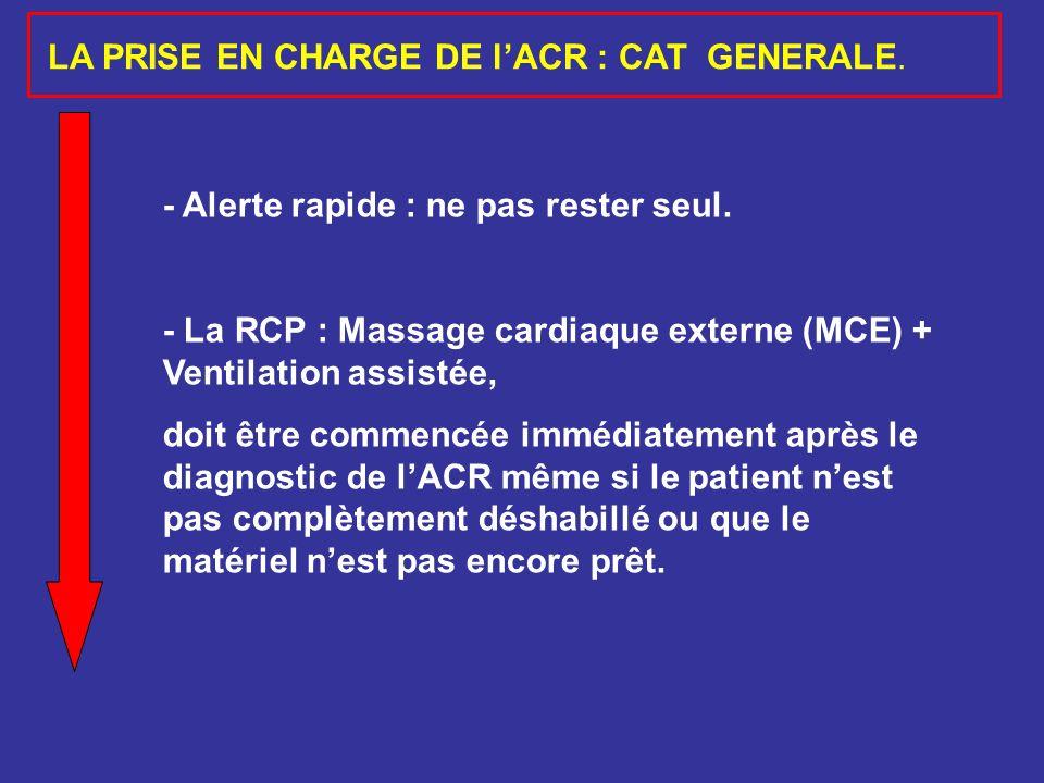 - Alerte rapide : ne pas rester seul. - La RCP : Massage cardiaque externe (MCE) + Ventilation assistée, doit être commencée immédiatement après le di