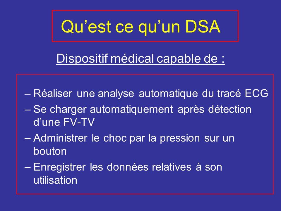 Quest ce quun DSA Dispositif médical capable de : –Réaliser une analyse automatique du tracé ECG –Se charger automatiquement après détection dune FV-T