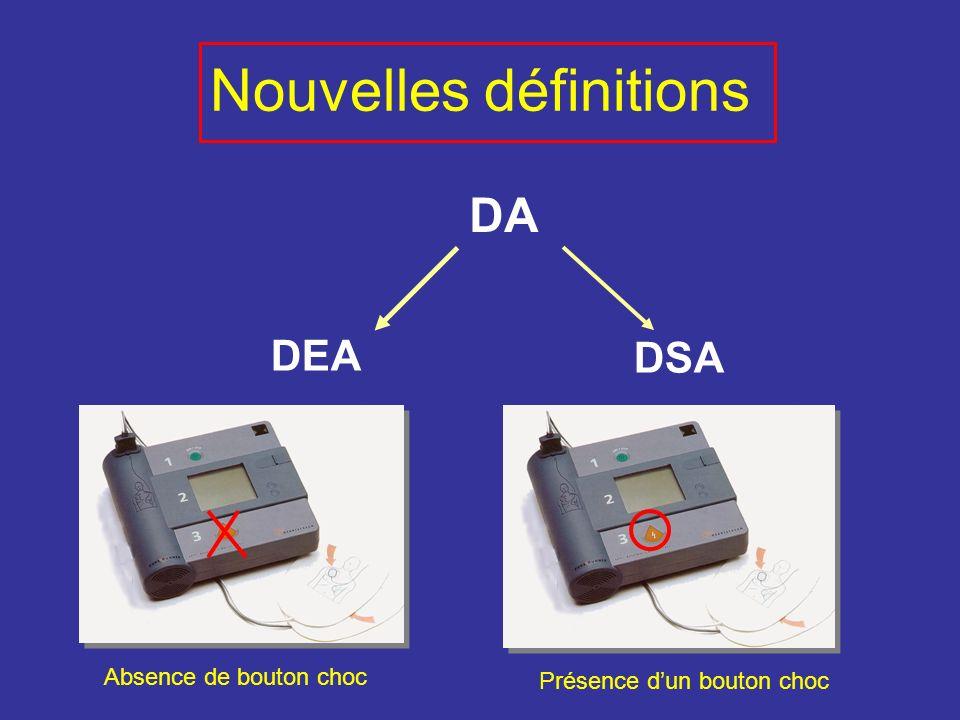 Nouvelles définitions DA DEA DSA Absence de bouton choc Présence dun bouton choc