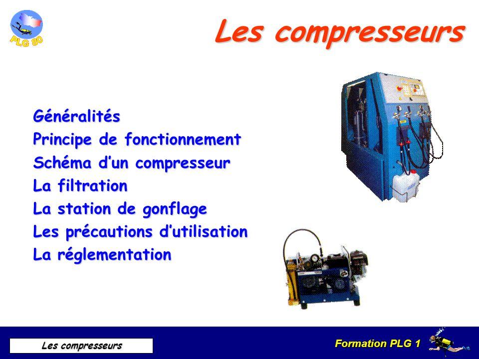 Formation PLG 1 Les compresseurs Généralités Le compresseur à pour effet de comprimer de lair à des pression allant jusquà 300 bars, afin dalimenter les bouteilles et les blocs tampons Différents types : Mobiles Fixes