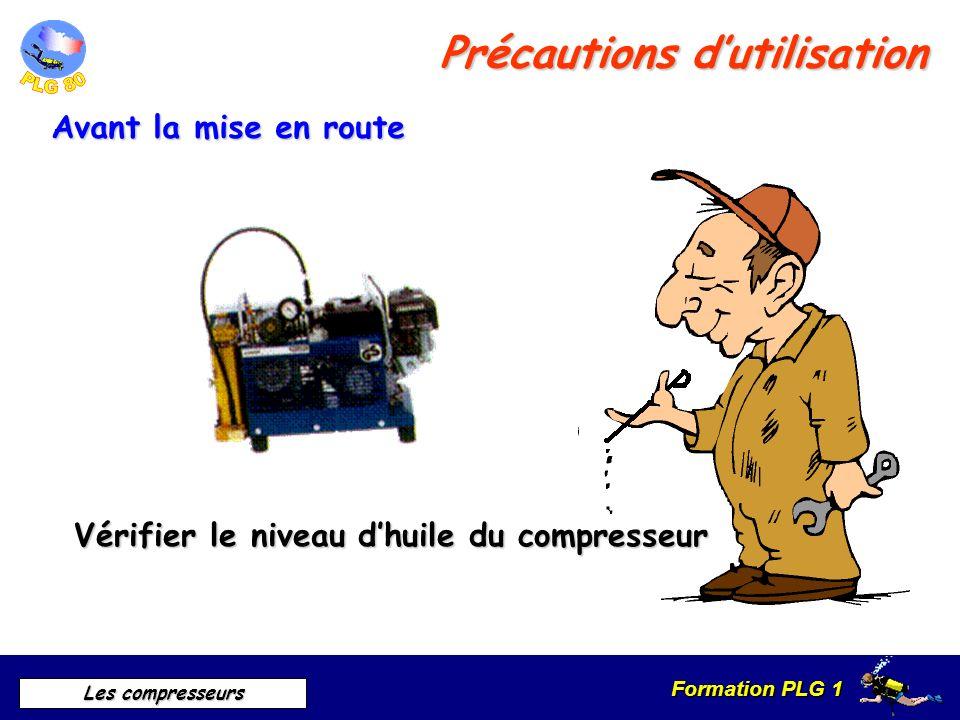 Formation PLG 1 Les compresseurs Précautions dutilisation Avant la mise en route Vérifier le niveau dhuile du compresseur