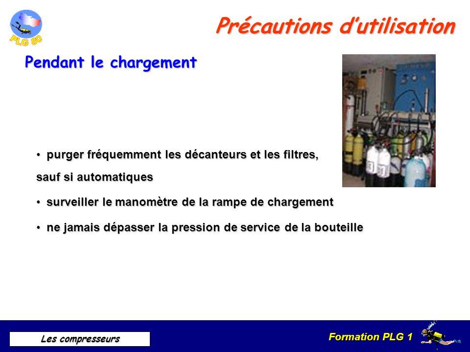 Formation PLG 1 Les compresseurs Précautions dutilisation Pendant le chargement purger fréquemment les décanteurs et les filtres, sauf si automatiques