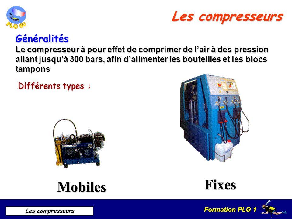 Formation PLG 1 Les compresseurs Généralités Le compresseur à pour effet de comprimer de lair à des pression allant jusquà 300 bars, afin dalimenter l
