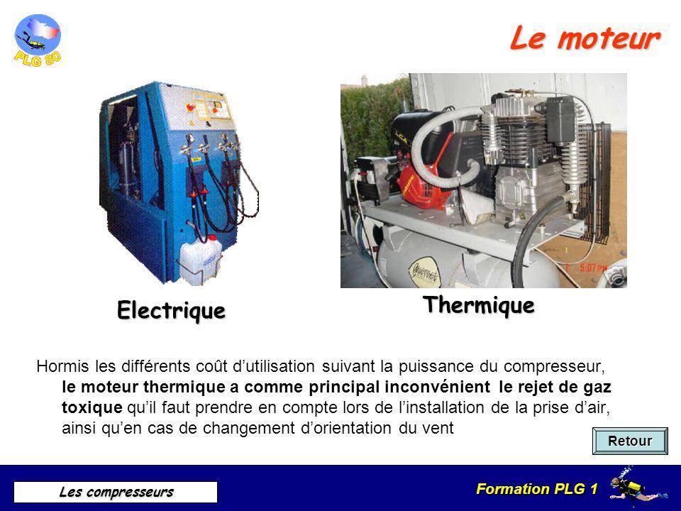 Formation PLG 1 Les compresseurs Le moteur Retour Hormis les différents coût dutilisation suivant la puissance du compresseur, le moteur thermique a c