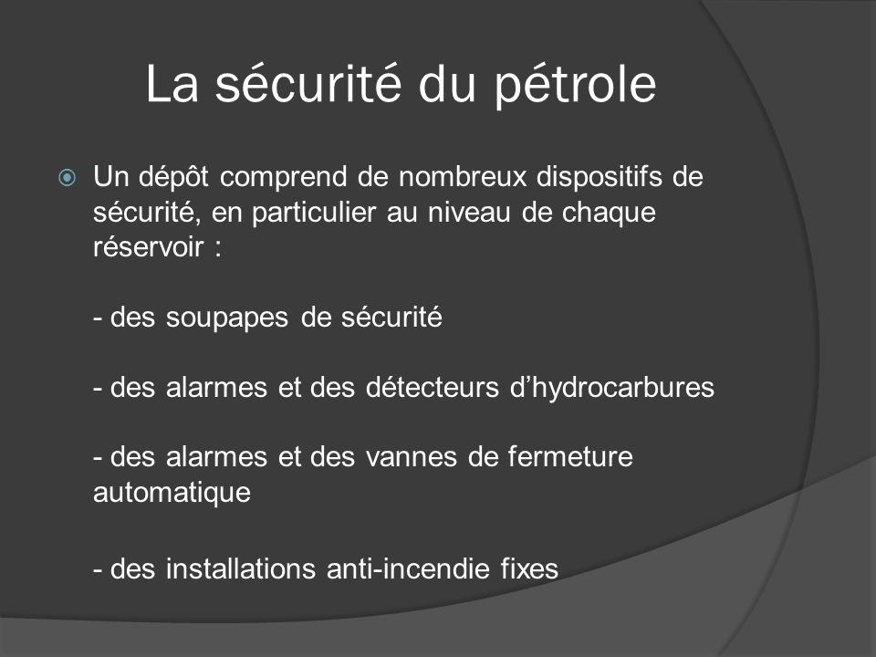 La sécurité du pétrole Un dépôt comprend de nombreux dispositifs de sécurité, en particulier au niveau de chaque réservoir : - des soupapes de sécurit