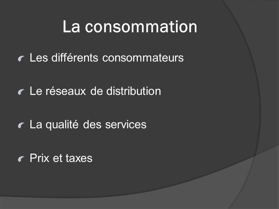 La consommation Les différents consommateurs Le réseaux de distribution La qualité des services Prix et taxes