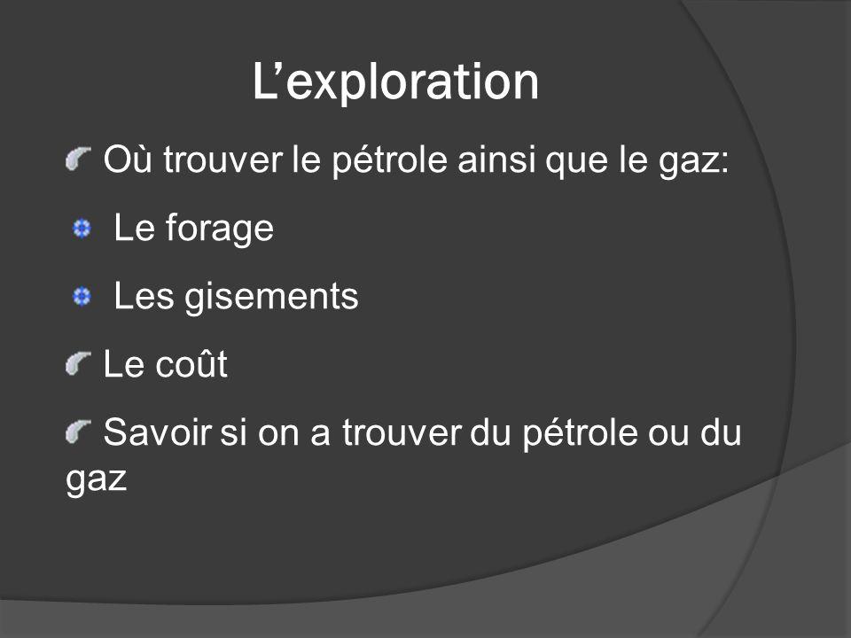 Lexploration Où trouver le pétrole ainsi que le gaz: Le forage Les gisements Le coût Savoir si on a trouver du pétrole ou du gaz