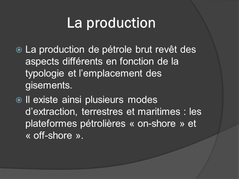 La production La production de pétrole brut revêt des aspects différents en fonction de la typologie et lemplacement des gisements. Il existe ainsi pl