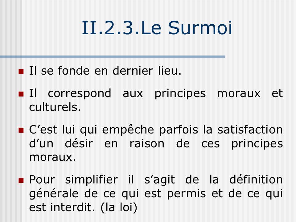 Formation du Surmoi Freud : « Le Surmoi est l héritier du complexe d Œdipe », = phrase significative de l instauration du Surmoi : De manière temporelle = contemporaine de la résolution du conflit œdipien, de manière causale : elle intervient comme conséquence du vécu ce complexe.