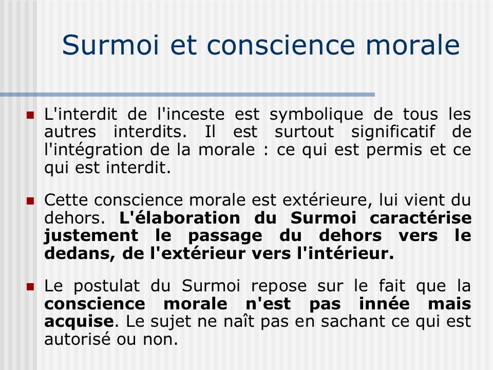 Surmoi collectif et Surmoi individuel La partie universelle du Surmoi est liée aux interdits universels comme l inceste, le vol et le meurtre.