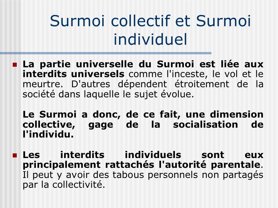 Acquisition d une conscience morale L instauration du Surmoi permet de rendre compte de l importance et de l impact de l éducation dans la formation psychologique de l enfant et donc du futur adulte.