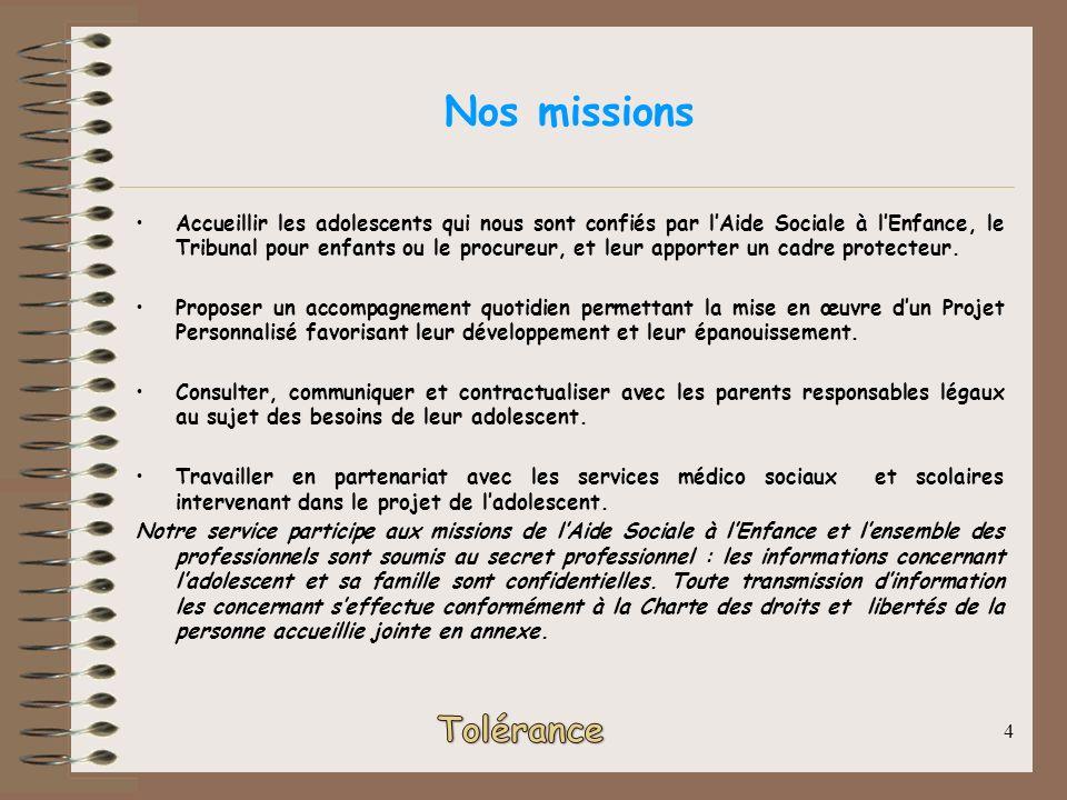 4 Nos missions Accueillir les adolescents qui nous sont confiés par lAide Sociale à lEnfance, le Tribunal pour enfants ou le procureur, et leur apport