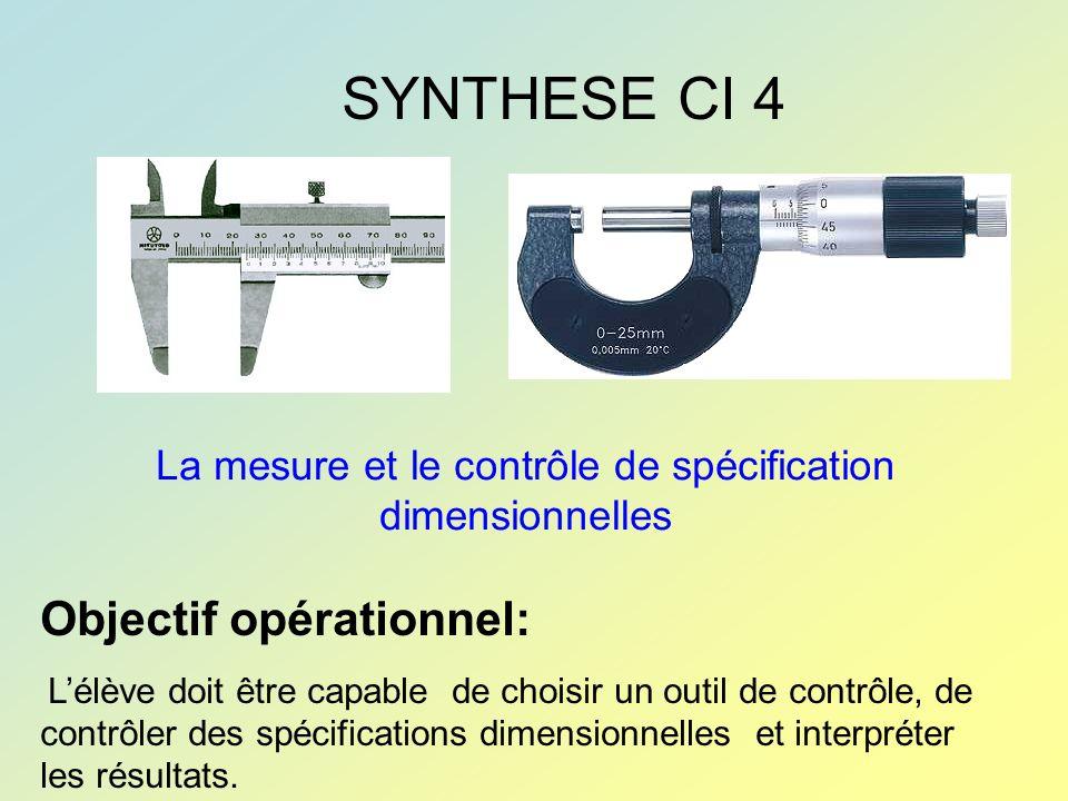 La mesure et le contrôle de spécification dimensionnelles SYNTHESE CI 4 Objectif opérationnel: Lélève doit être capable de choisir un outil de contrôl