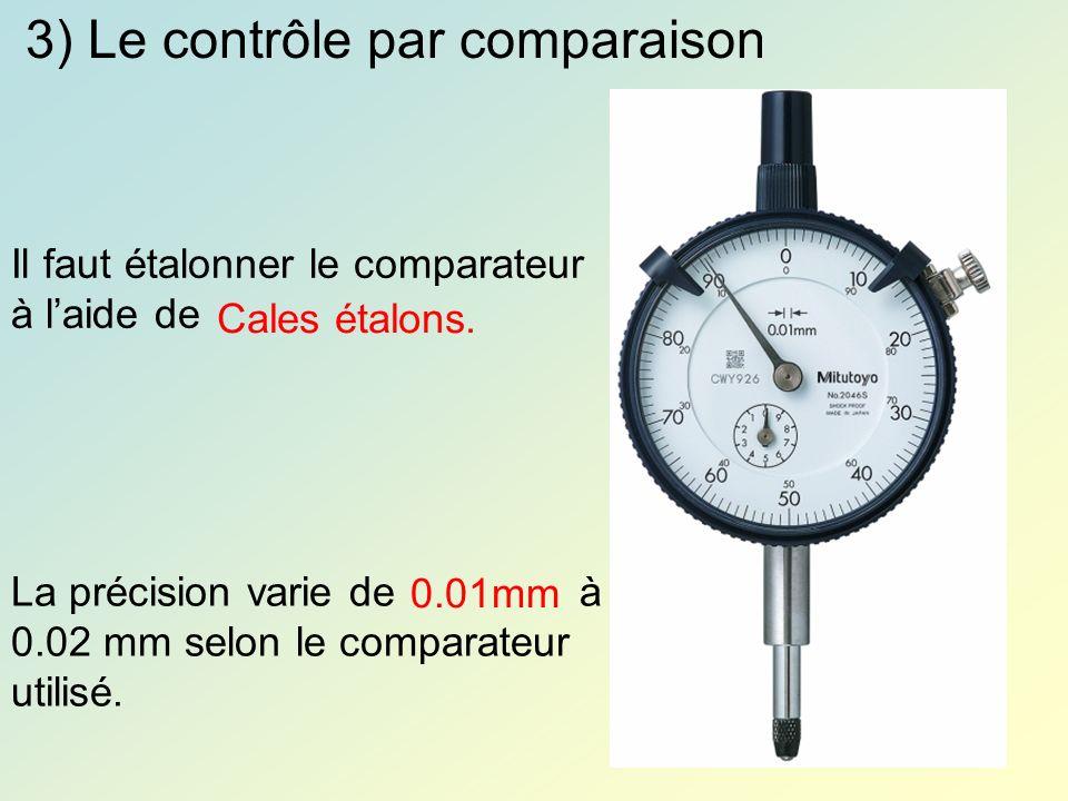 3) Le contrôle par comparaison Il faut étalonner le comparateur à laide de Cales étalons. La précision varie de à 0.02 mm selon le comparateur utilisé