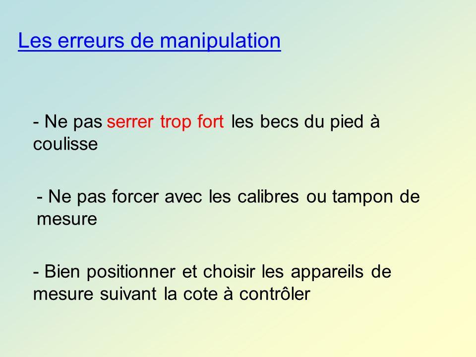 Les erreurs de manipulation - Ne pas les becs du pied à coulisse serrer trop fort - Ne pas forcer avec les calibres ou tampon de mesure - Bien positio