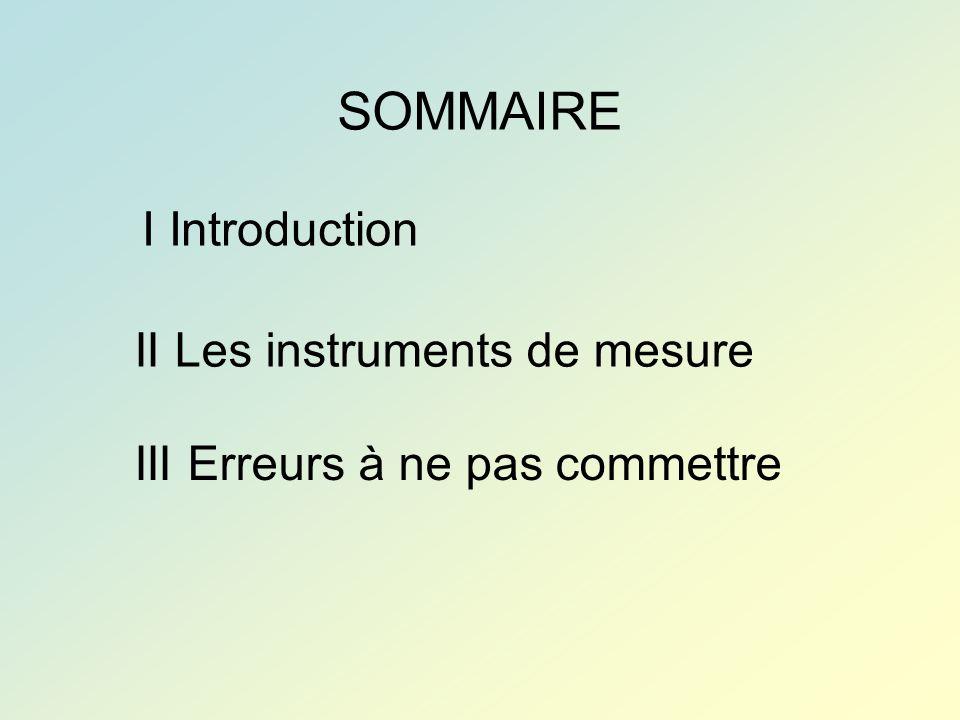 SOMMAIRE I Introduction II Les instruments de mesure III Erreurs à ne pas commettre