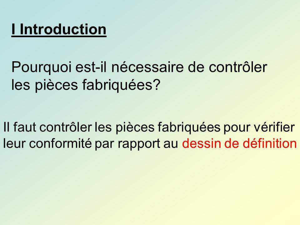 I Introduction Pourquoi est-il nécessaire de contrôler les pièces fabriquées? Il faut contrôler les pièces fabriquées pour vérifier leur conformité pa