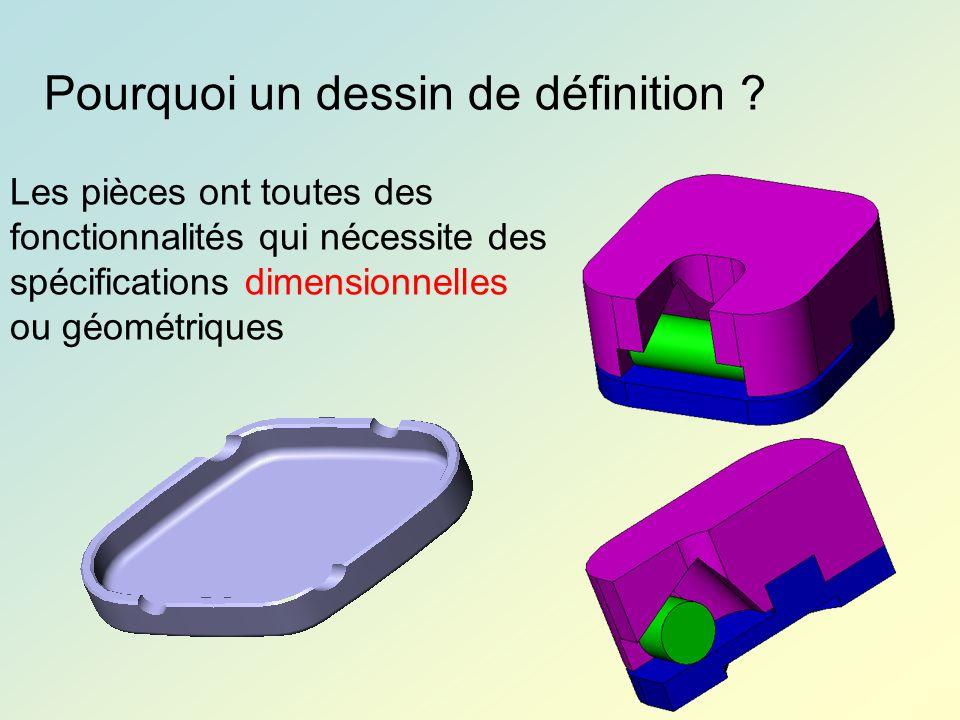 Pourquoi un dessin de définition ? Les pièces ont toutes des fonctionnalités qui nécessite des spécifications dimensionnelles ou géométriques