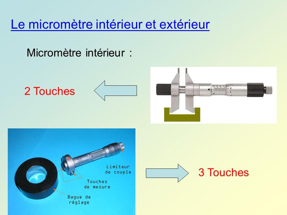 Micromètre intérieur : Le micromètre intérieur et extérieur 3 Touches 2 Touches
