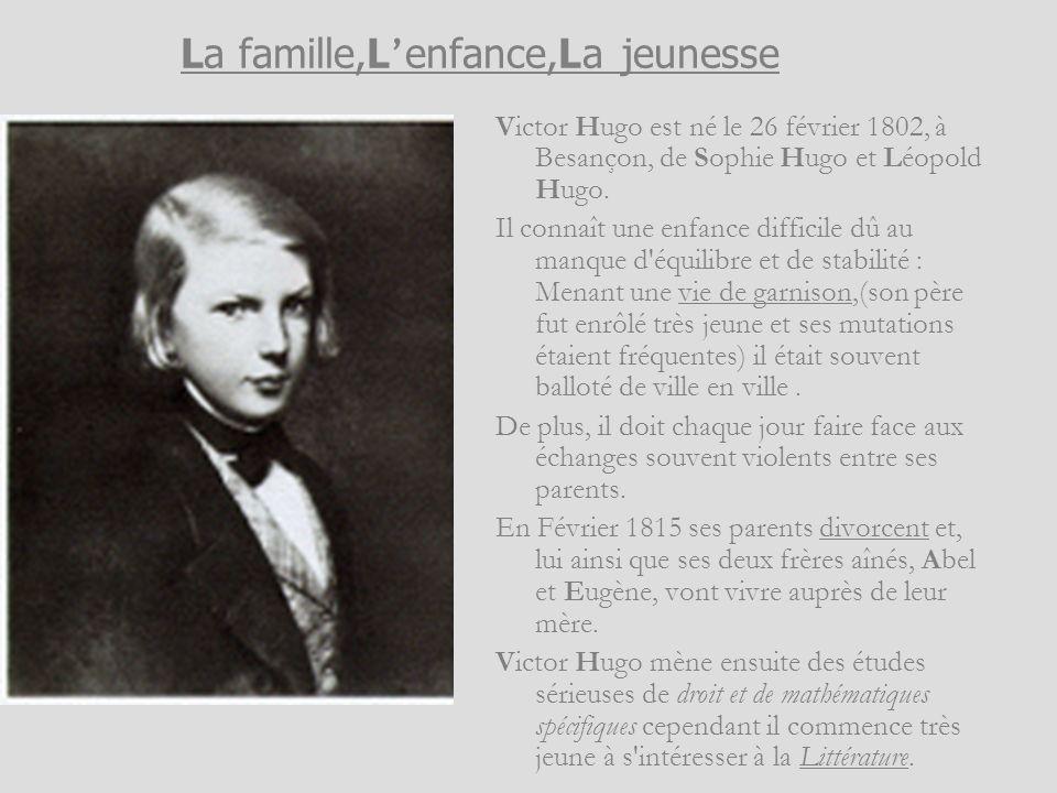 La famille,L enfance,La jeunesse Victor Hugo est né le 26 février 1802, à Besançon, de Sophie Hugo et Léopold Hugo. Il connaît une enfance difficile d