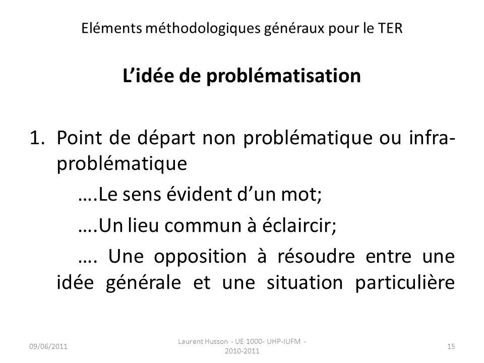 Eléments méthodologiques généraux pour le TER Lidée de problématisation 1.Point de départ non problématique ou infra- problématique ….Le sens évident