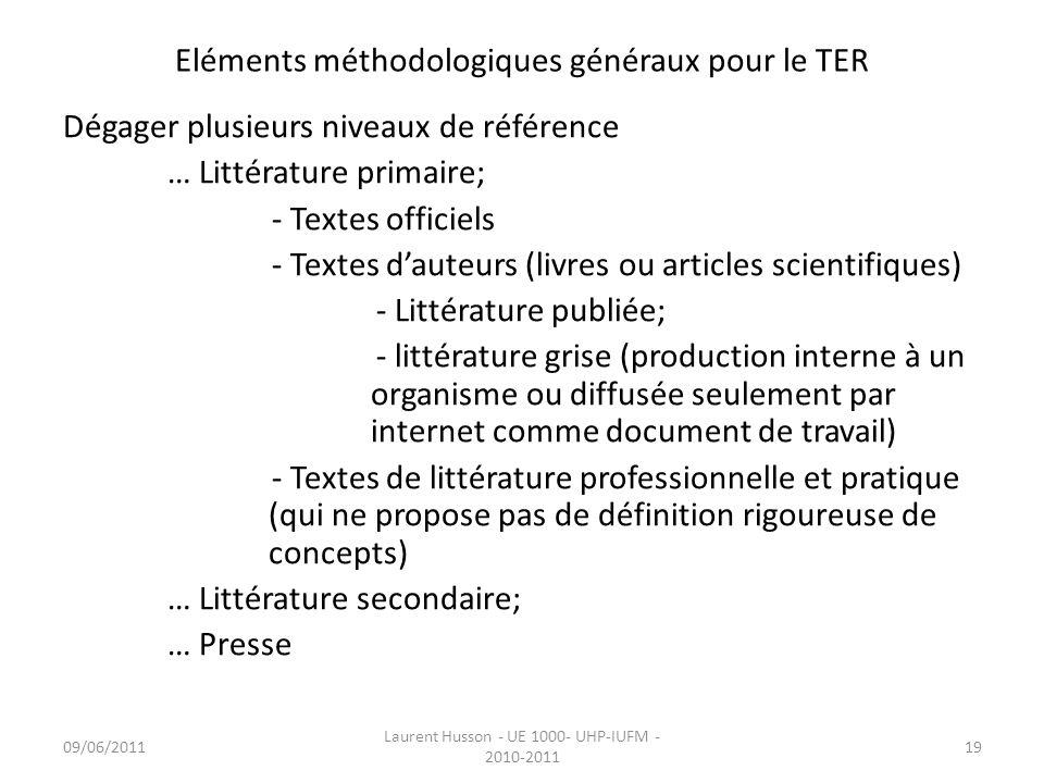 Eléments méthodologiques généraux pour le TER Dégager plusieurs niveaux de référence … Littérature primaire; - Textes officiels - Textes dauteurs (liv