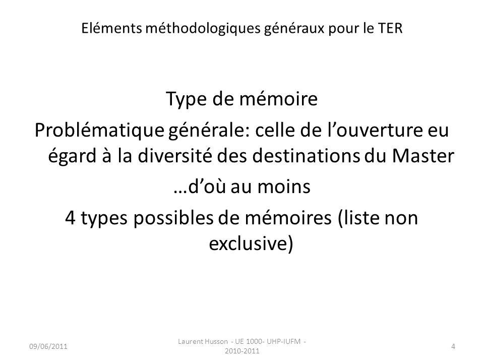 Eléments méthodologiques généraux pour le TER 1.Le mémoire lié à une pratique professionnelle …il reprend la logique du mémoire professionnel et est lié à une pratique continue sur un terrain.