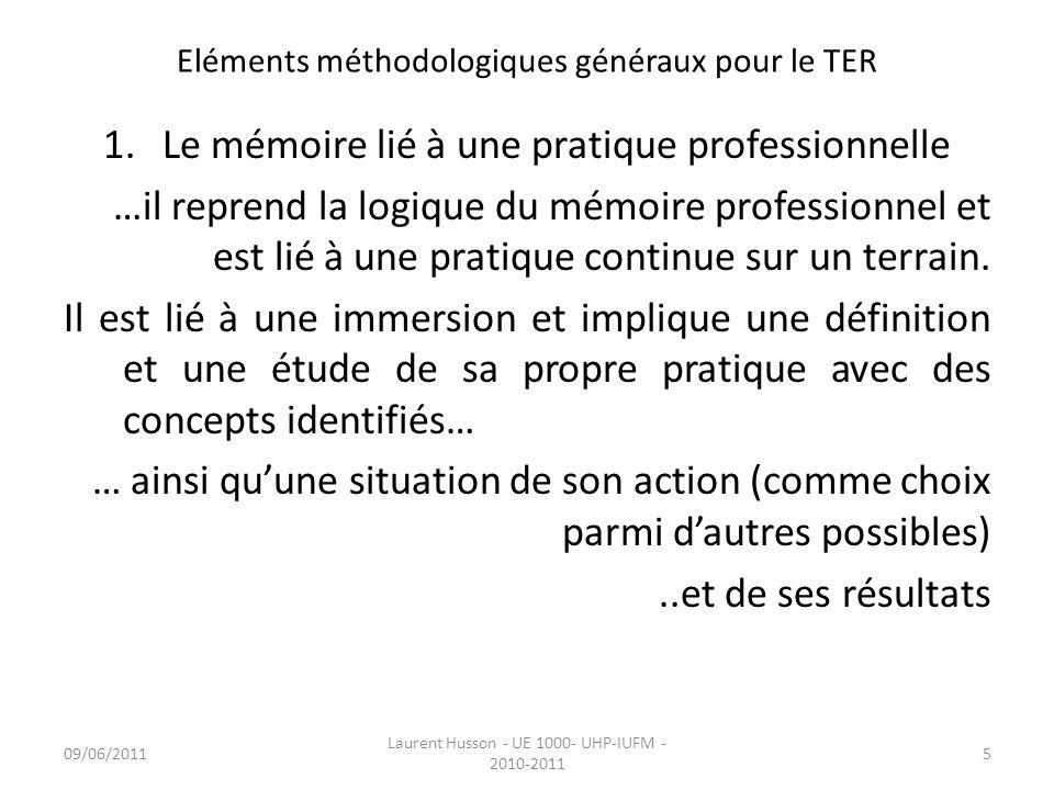 Eléments méthodologiques généraux pour le TER 1.Le mémoire lié à une pratique professionnelle …il reprend la logique du mémoire professionnel et est l