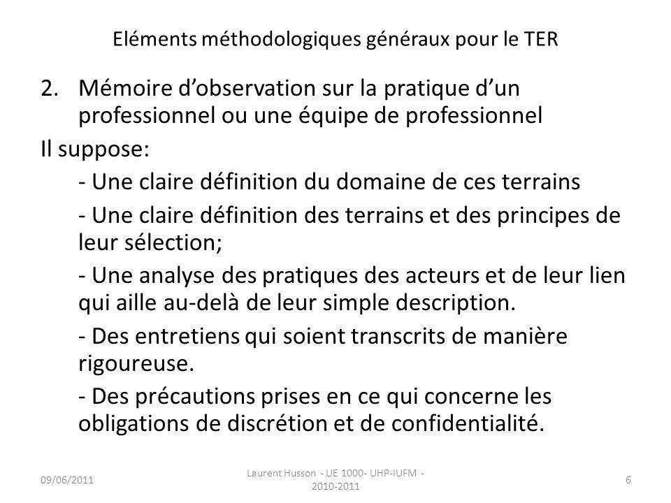 Eléments méthodologiques généraux pour le TER Triangle de la problématisation (données dont la confrontation est à lorigine de la recherche) Recherche théorique Eléments dapport personnels (lien avec le terrain) Déclencheur de la réflexion 09/06/201117 Laurent Husson - UE 1000- UHP-IUFM - 2010-2011