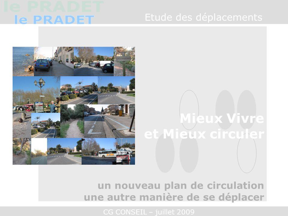 CG CONSEIL – juillet 2009 Les scénarios Mieux vivre au Pradet MEMO : - 35% de trafic sur 1 ère DFL + 25% sur 3 ème Zouave et +20% Le Leap.