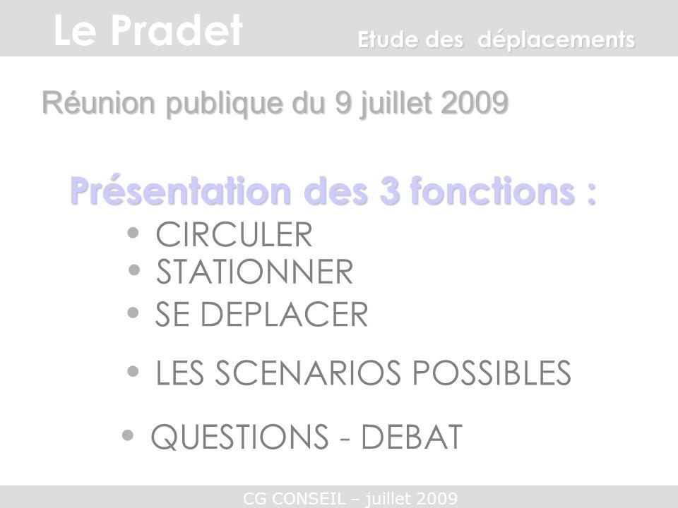 CG CONSEIL – juillet 2009 CIRCULER Réunion publique du 9 juillet 2009 Présentation des 3 fonctions : STATIONNER SE DEPLACER QUESTIONS - DEBAT Etude de