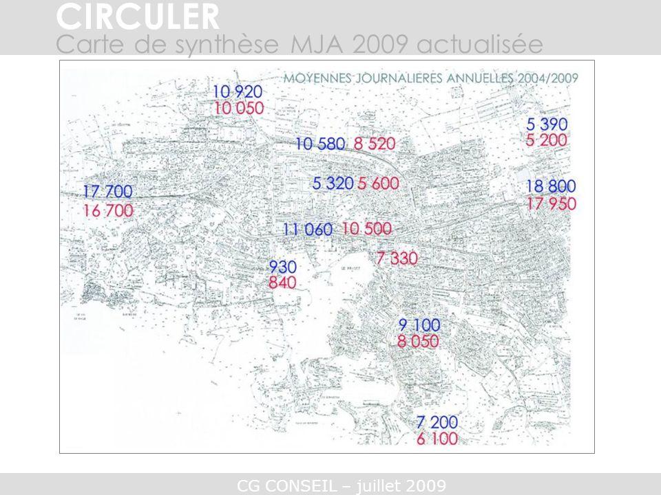 CG CONSEIL – juillet 2009 CIRCULER Carte de synthèse MJA 2009 actualisée