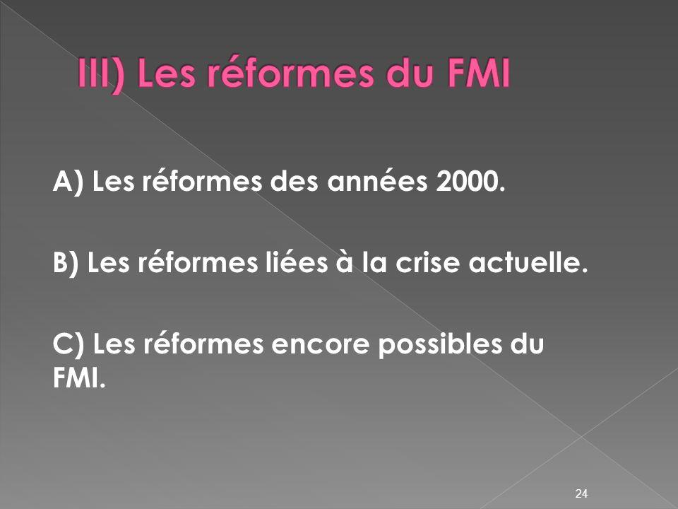24 A) Les réformes des années 2000.B) Les réformes liées à la crise actuelle.