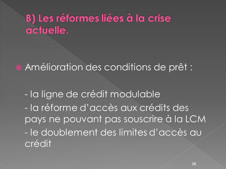 Amélioration des conditions de prêt : - la ligne de crédit modulable - la réforme daccès aux crédits des pays ne pouvant pas souscrire à la LCM - le doublement des limites daccès au crédit 26