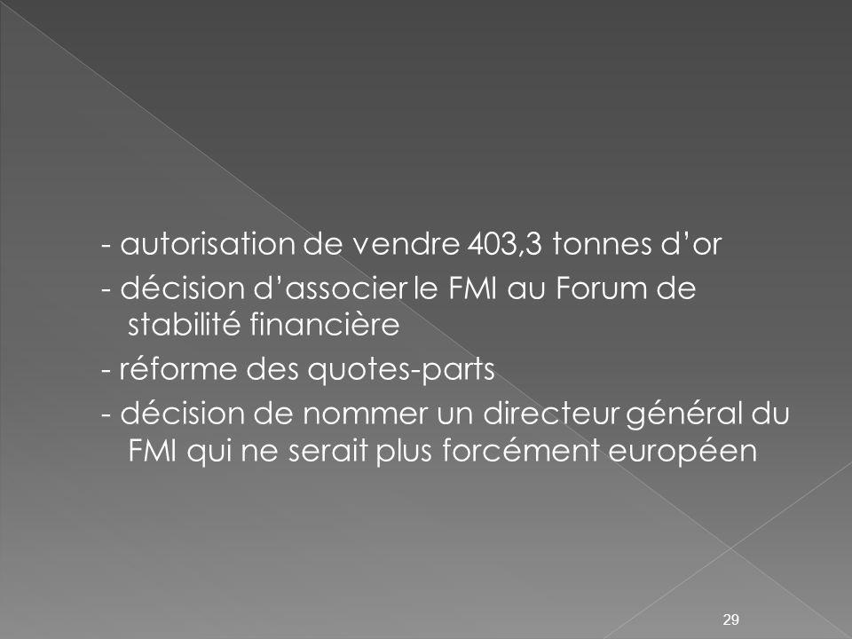 - autorisation de vendre 403,3 tonnes dor - décision dassocier le FMI au Forum de stabilité financière - réforme des quotes-parts - décision de nommer un directeur général du FMI qui ne serait plus forcément européen 29