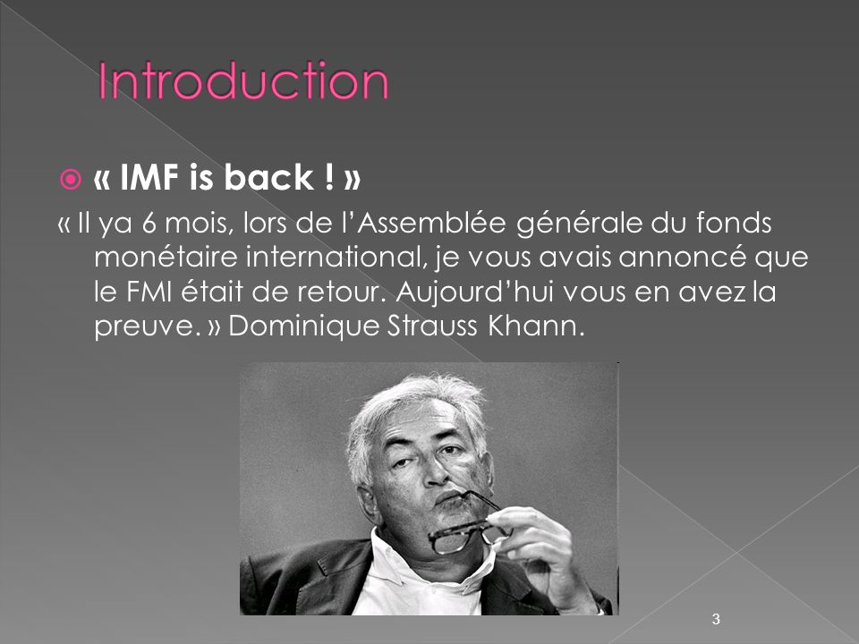 « IMF is back .