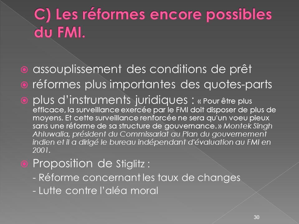 assouplissement des conditions de prêt réformes plus importantes des quotes-parts plus dinstruments juridiques : « Pour être plus efficace, la surveillance exercée par le FMI doit disposer de plus de moyens.