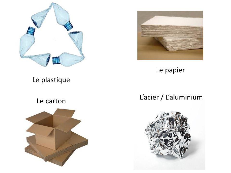 Lacier / Laluminium Le carton Le papier Le plastique