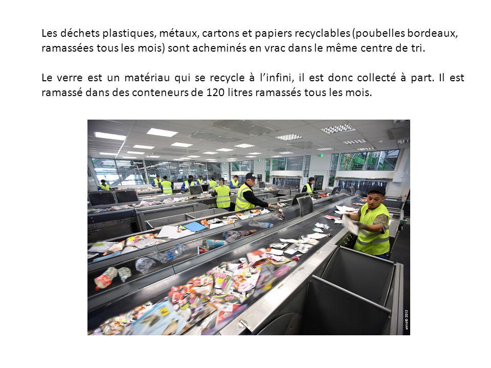 Les déchets plastiques, métaux, cartons et papiers recyclables (poubelles bordeaux, ramassées tous les mois) sont acheminés en vrac dans le même centr