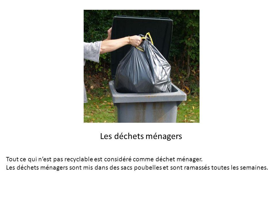 Les déchets ménagers Tout ce qui nest pas recyclable est considéré comme déchet ménager. Les déchets ménagers sont mis dans des sacs poubelles et sont