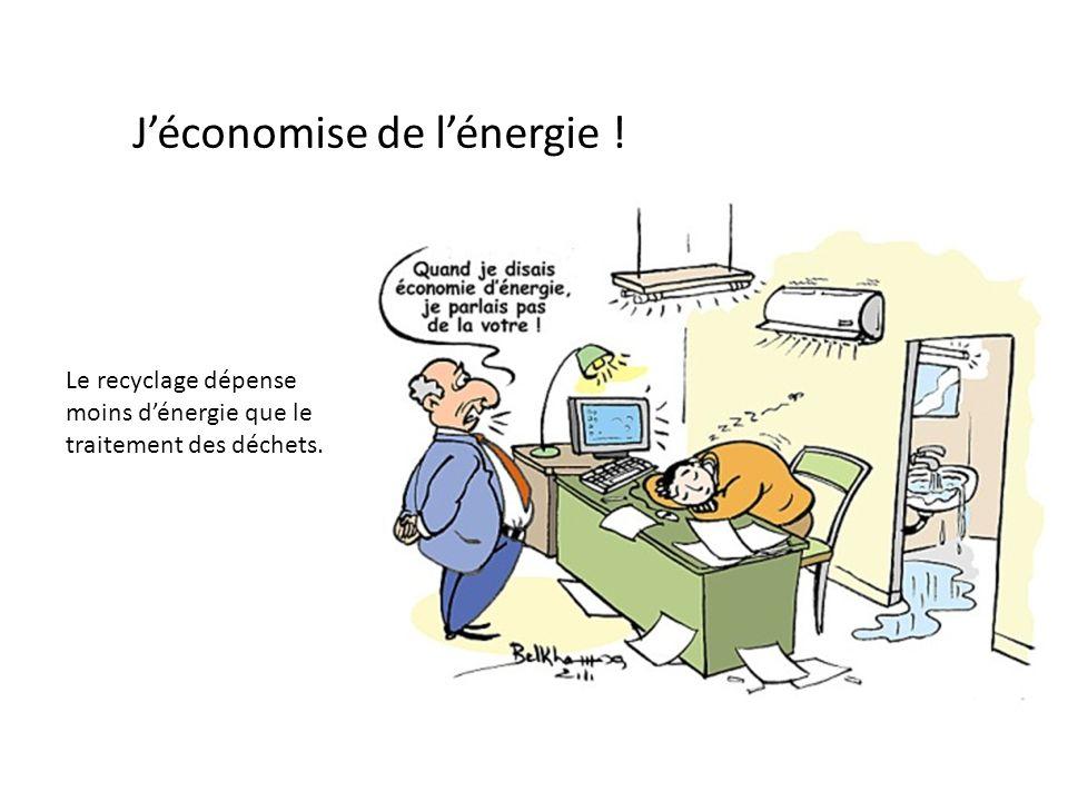 Jéconomise de lénergie ! Le recyclage dépense moins dénergie que le traitement des déchets.