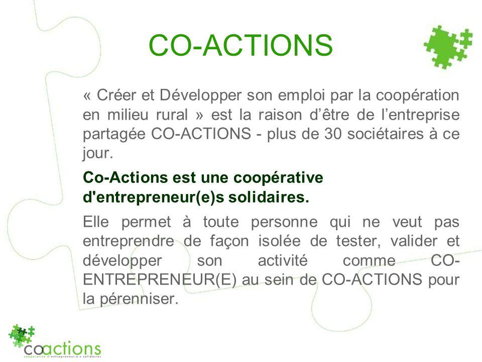 CO-ACTIONS « Créer et Développer son emploi par la coopération en milieu rural » est la raison dêtre de lentreprise partagée CO-ACTIONS - plus de 30 s