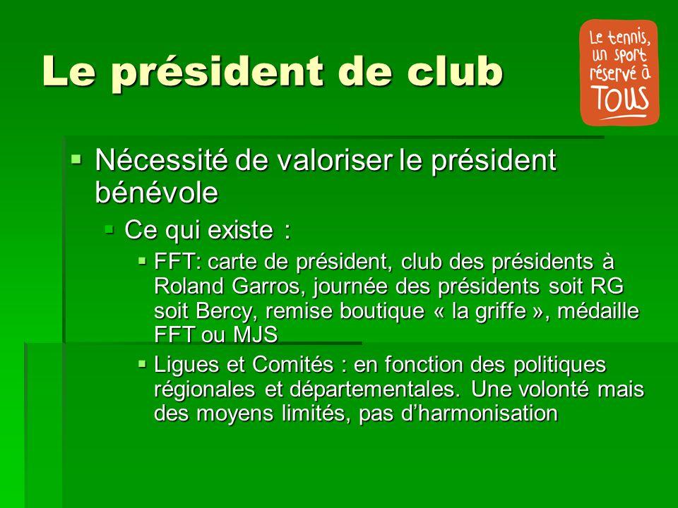 Le président de club Nécessité de valoriser le président bénévole Nécessité de valoriser le président bénévole Ce qui existe : Ce qui existe : FFT: ca