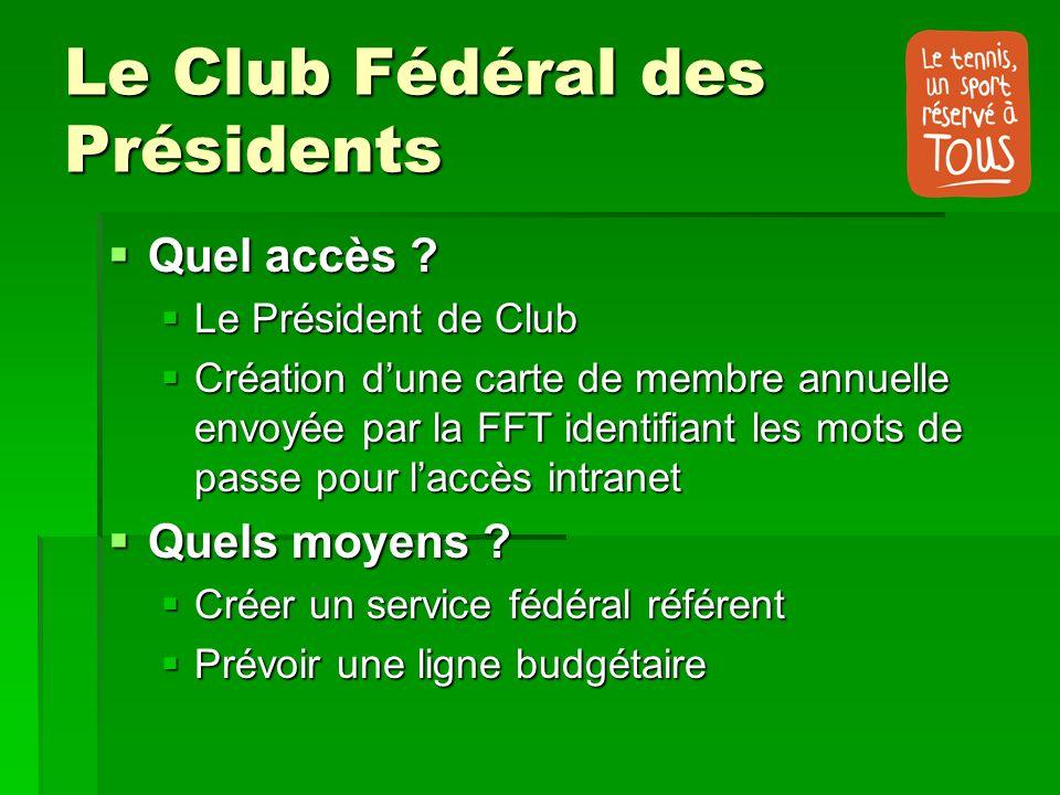 Le Club Fédéral des Présidents Quel accès ? Quel accès ? Le Président de Club Le Président de Club Création dune carte de membre annuelle envoyée par