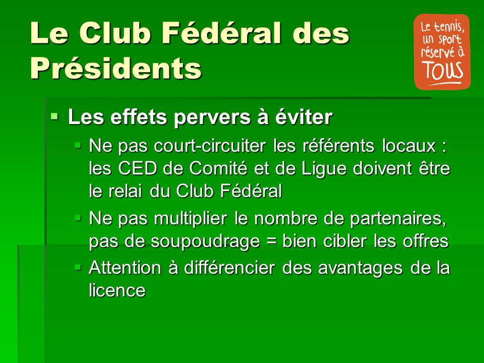 Le Club Fédéral des Présidents Les effets pervers à éviter Les effets pervers à éviter Ne pas court-circuiter les référents locaux : les CED de Comité
