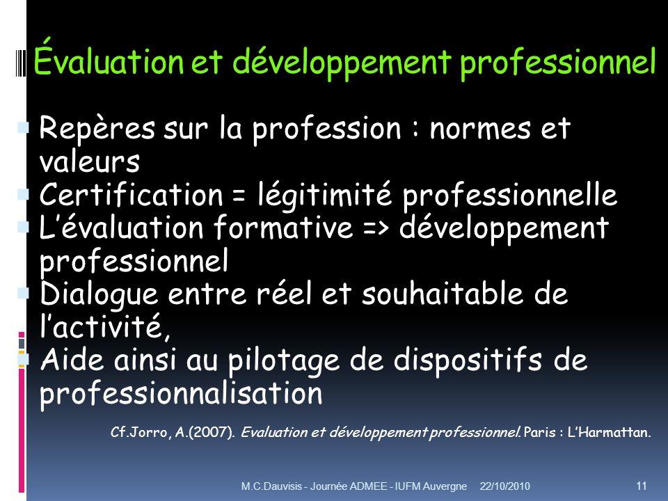 Évaluation et développement professionnel Repères sur la profession : normes et valeurs Certification = légitimité professionnelle Lévaluation formati